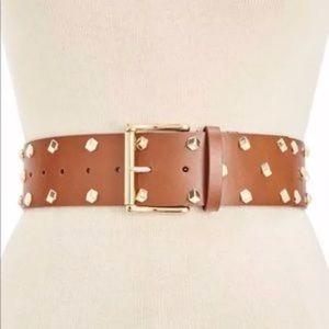 Michael Kors Leather Studded Wide Belt Luggage Tan